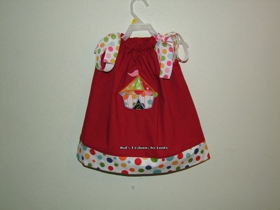 Red/Dot Pillowcase Dress with Circus Big Top-Personalization NOT included