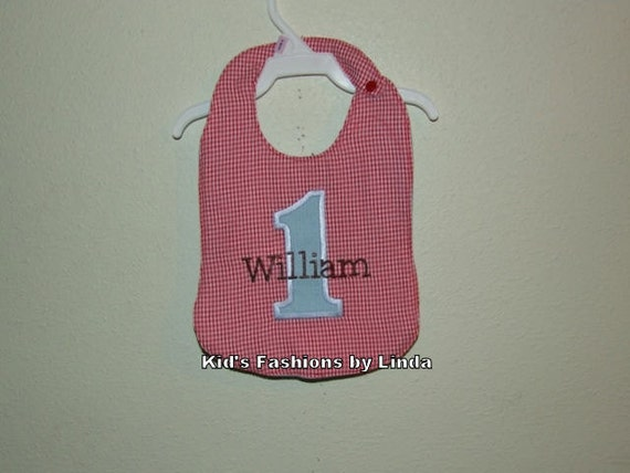 Red Gingham Seersucker Personalized Applique Number Bib
