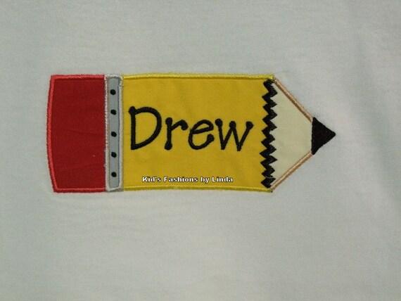 School Personalized Pencil Tshirt