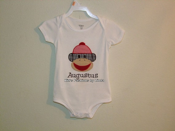 White Bodysuit/Tshirt with Sock Monkey Applique-Personalization optional