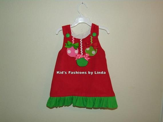Red Corduroy /Green Ruffle Christmas Ornament Aline Dress