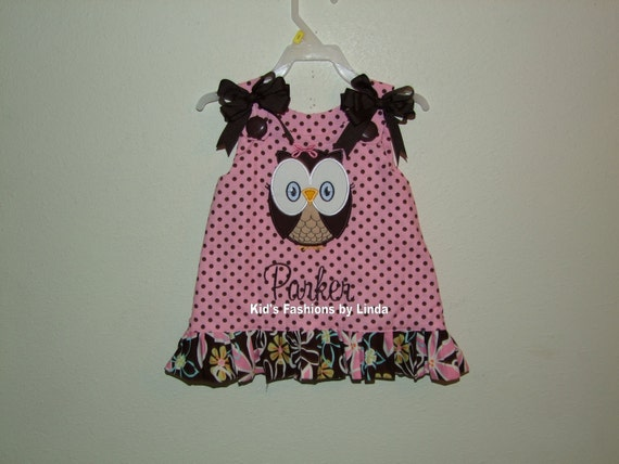 Personalized Pink/Brown Dots Aline Dress/Flower Ruffle with Large Owl Applique