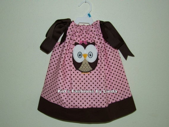 Pink/Brown Dots Pillowcase Dress with Solid Brown Cuff with Owl Applique-Personalization Optional