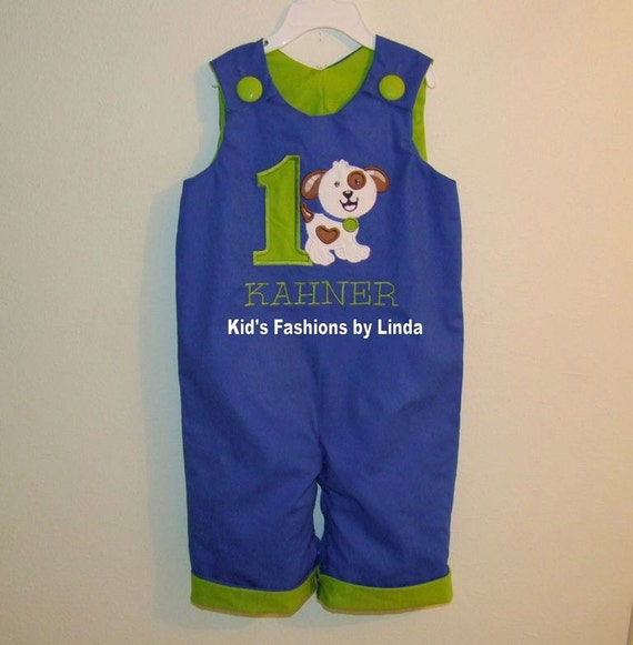 Birthday Applique Number/Dog  Royal Blue Longall-Personalization Included