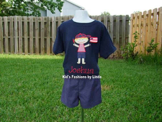 Personalized 4th of July Boy Navy Blue Tshirt/Navy Pin Dot Short set