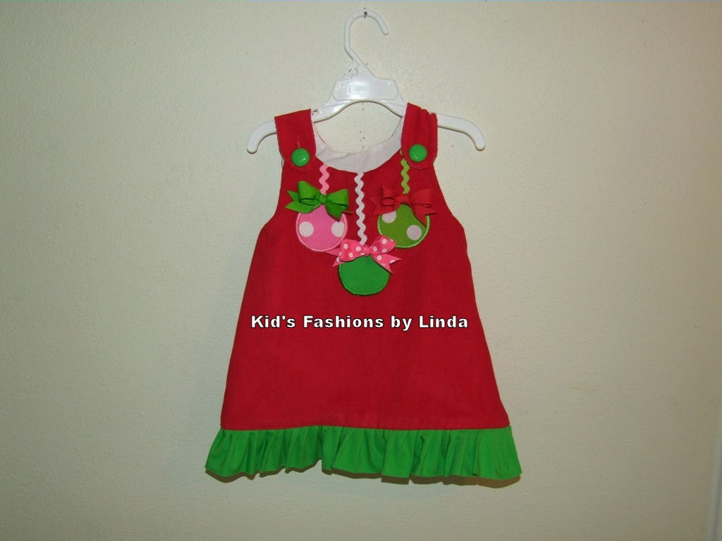 Red corduroy green ruffle christmas ornament aline dress