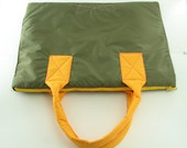 laptop bag - color block - dark olive and pumpkin - made to order