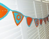 Retro Crochet Bunting Banner Wall Decor Turquoise and Orange