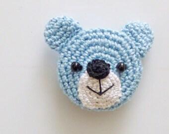 Hand Crocheted Blue Bear  Kitchen Magnet