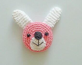 Hand Crocheted Pink Rabbit  Kitchen Magnet