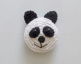 Hand Crocheted Black and White Panda Kitchen Magnet