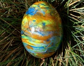 Save The Earth polymer clay covered egg.OOAK ready to ship