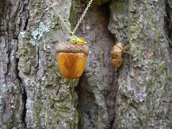 ACORN Necklace with swarovski crystals  Gold Polymer Clay Acorn with real acorn top