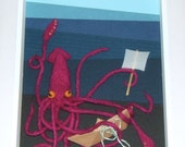 I crush everything. Giant squid and sailboat shadow box picture.