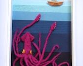 I lie below. Giant squid and sailboat shadow box diorama.