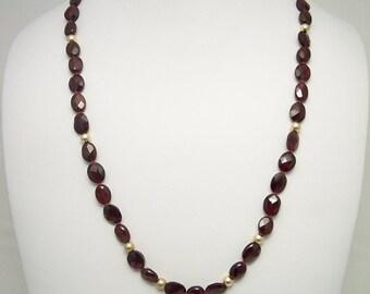 Garnet & Gold Necklace Set 213S