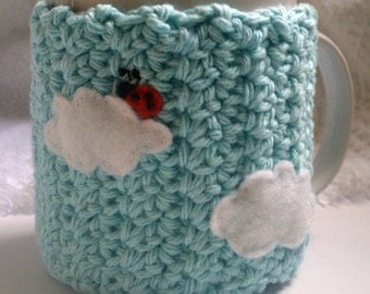 Coffee Cozy, -A BUG ON A MUG Cozy Ladybug in the clouds, Baby Blue, coffee sleeve, mug cozy, clouds, ladybug, gifts for her, gift