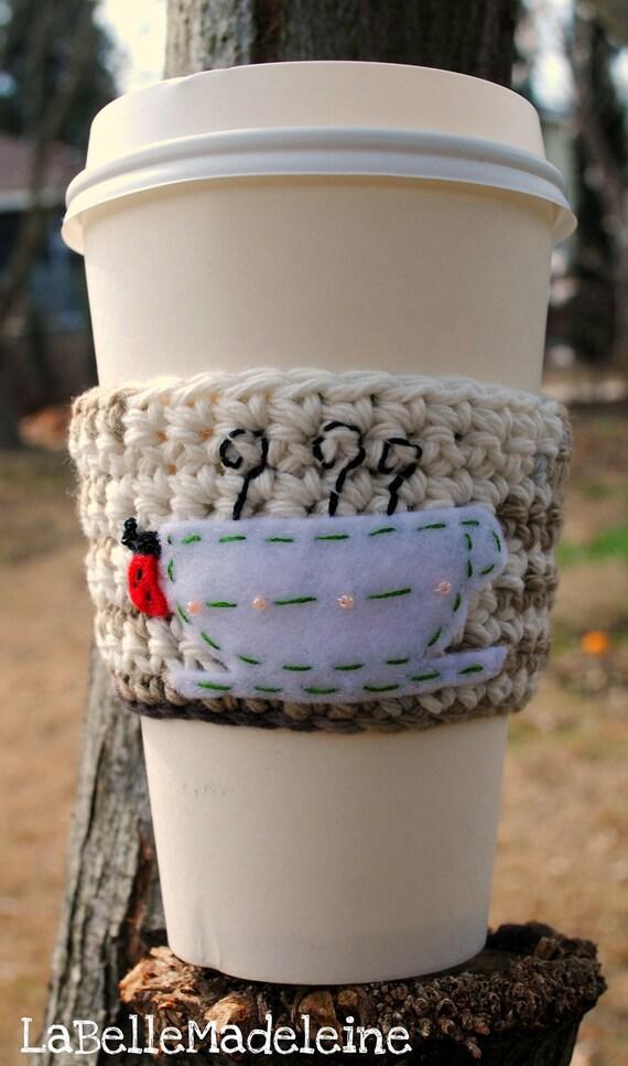 Cup Cozy LATTE MACCHIATO Ladybug Cozy, coffee sleeve, cup cozy, cosy, crochet cozy, ladybug, mariquita, gifts for her,