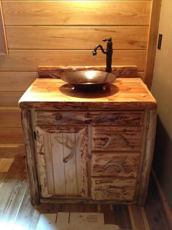 Custom rustic cedar bathroom vanity cabinet 36 inch for Bathroom vanities mokena il