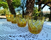 Vintage / Crystal / Cocktail Glasses / Barware / Bar / Yellow / Glass / Colored Glasses