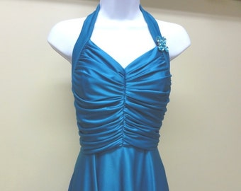 Vintage 70's Disco Blue Halter Gown with Low Back - Size 4-6