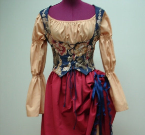 Ladies Pirate Wench or Beer Wench Costume Red/Mustard/Blue Size 6-8