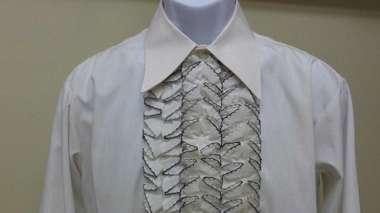 1970 39 S Vintage Men 39 S Ruffled Tuxedo Shirt Neck 16 5