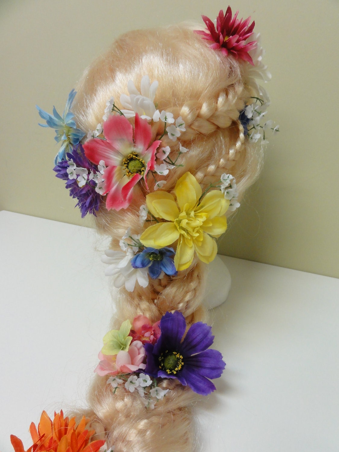 Girl S Rapunzel Wig Braided With Flowers By