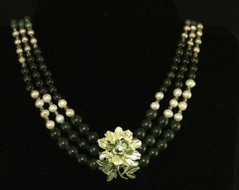 Dark Olive Quartz Floral Focal NECKLACE