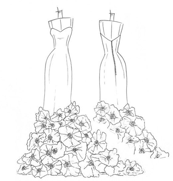 dress sketch of YOUR special dress - a perfect gift...
