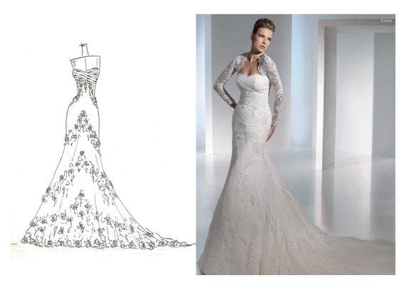 Wedding Dress Sketch Gift: Items Similar To Wedding Dress Sketch