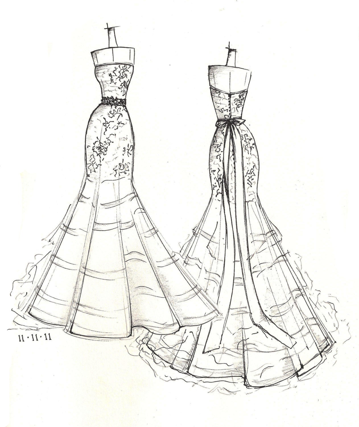 FRONT And BACK Dress Sketch Of YOUR Special Dress A Perfect