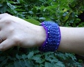 Bracelet from Upcycled Felted Sweater - Shades of Purple & Blue Mohair