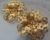 Pierced Brass Lace Flowers (2 pc)