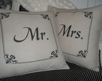 Mr. and Mrs. PIllow Cover Set