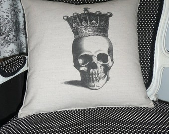 Skull with Crown Pillow Cover