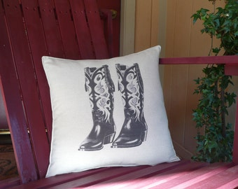 Vintage Cowboy Boots Pillow Cover