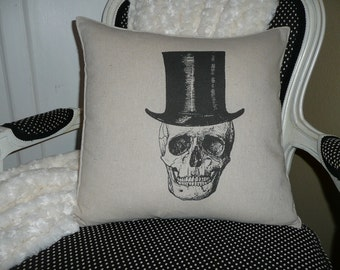 Skull with Tophat Pillow Cover