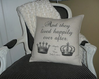And they lived happily ever after pillow cover Personalized at NO EXTRA COST.