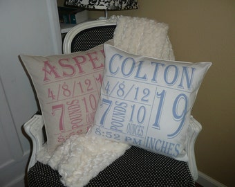 New Baby Pillow Cover--Personalized at NO EXTRA COST