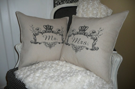 Mr. and Mrs. Ornate Pillow Cover Set
