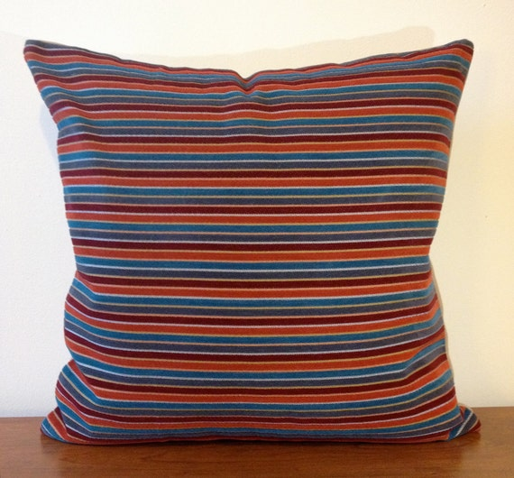 Set of Two 18x18  Schumacher Fabric Pillow Cover --Multicolor Stripes- Designer Fabric- Decorative Throw Pillow