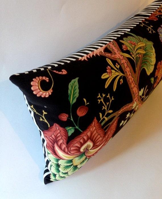 Pindler and Pindler Fabric 12X24 Bolster Pillow -Botanical Print - Floral pattern - Black -Red-Yellow-Pink -Blue- Black & White Stripe Back