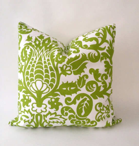 20x20 Suzani Lime Green and White Decorative Pillow Cover - Medium Weight Cotton- Invisible Zipper Closure- Cushion Cover 51x51cm