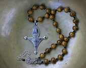 Tuareg Bagzan Cross Necklace with Honey Kazuri Beads