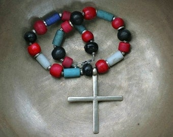 Antique Ethiopian Cross Choker with African Trade Beads
