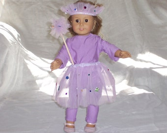 18 inch Doll Clothes American Girl, TUTU, WAND, HEADPIECE, Leggings and Top