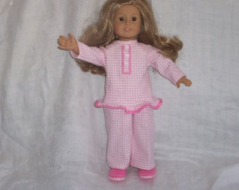 18 inch Doll Clothes American Girl, FLANNEL PAJAMAS, SLIPPERS
