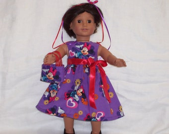 18 inch Doll Clothes American Girl, MINNIE MOUSE DRESS and Purse,  Disney