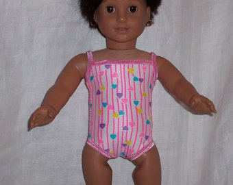 18 inch Doll Clothes American Girl Hearts SPANDEX BATHING SUIT, Hot Pink Sparkly Trim